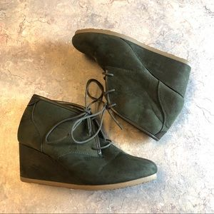 Olive green suede wedge booties size 10